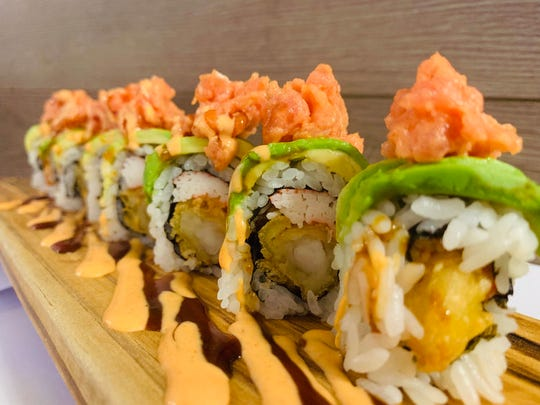 The best selling Lincoln Park roll at Kenko Sushi, named best sushi restaurant in NJ by The Daily Meal