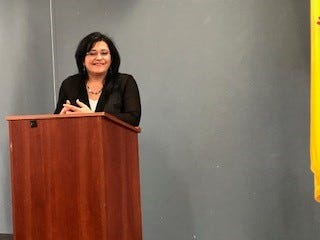 Dr. Karen Trujillo speaks at The Las Cruces Association of Educational Retirees at the February meeting.