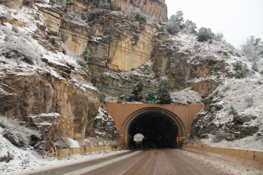 The tunnel on U.S. Highway 82 Feb. 4.  A winter weather system came through Tuesday, Feb. 4 dropping needed precipitation in Otero County.