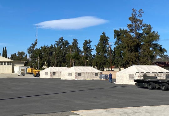 This photo shows tents set up at March Air Reserve Base. They will be used to screen anyone coming from China, where the coronvirus outbreak has sickened thousands of people.