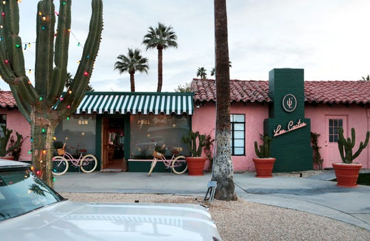 The boutique hotel Les Cactus is located in the Warm Sands neighborhood, south of Ramon Road near Avenida Caballeros, in Palm Springs, Calif.