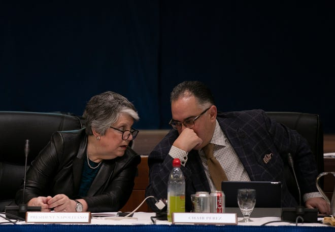Janet Napolitano, president of the University of California, and John A. Perez, chair of the UC Board of Regents, speak before the start of the Regents meeting on Jan. 23, 2020, at UCSF Mission Bay Conference Center.