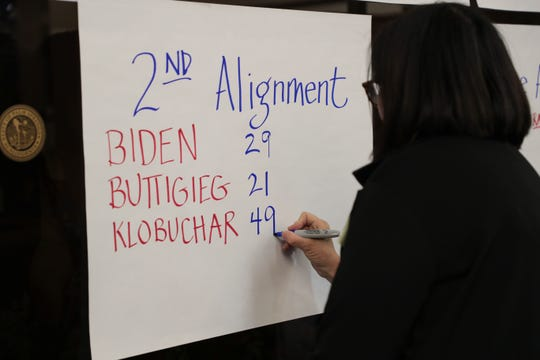 Allison Engel writes second alignment results at the 2020 Iowa Democratic satellite caucus at Palm Springs Public Library on Monday, February 3, 2020 in Palm Springs, Calif.
