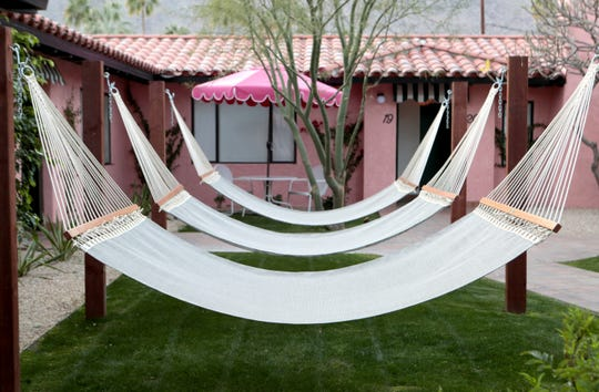 Hammocks at the boutique hotel Les Cactus in Palm Springs, Calif., on January 30, 2020.