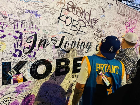 Scenes from the Kobe and Gianna Bryant memorial outside of Staples Center in downtown Los Angeles on Saturday, February 1, 2020.
