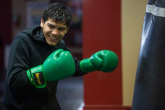 Anthony Reyes, 7-0, 5 KOs, trains at the Lee Espinoza Coachella Boxing Gym on February 3, 2020.
