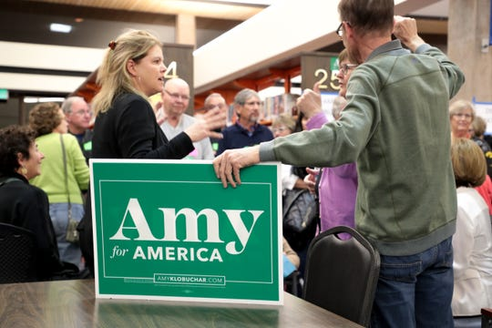 Amy Klobuchar supporters count their group at the 2020 Iowa Democratic satellite caucus at Palm Springs Public Library on Monday, February 3, 2020 in Palm Springs, Calif.