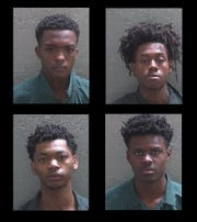 Clockwise from top left, Brian Colliet Jr., Tyione Ross, Quajuan Folsom and Leslie Huff III. Alexander Howard's mugshot was unavailable because he is a juvenile.
