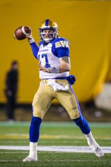 Nov 24, 2019; Calgary, Alberta, CAN; Winnipeg Blue Bombers quarterback Chris Streveler (17) throws ball against the Hamilton Tiger-Cats in the first half during the 107th Grey Cup championship football game at McMahon Stadium. Mandatory Credit: Sergei Belski-USA TODAY Sports