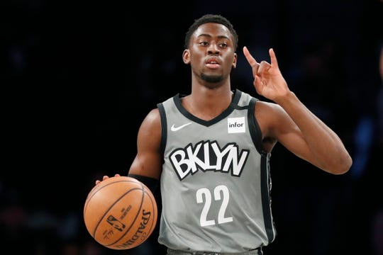 Brooklyn Nets guard Caris LeVert (22) gestures as he brings the ball down court during the first quarter of an NBA basketball game against the Phoenix Suns, Monday, Feb. 3, 2020, in New York. LeVert had 29 points in the Nets 119-97 victory over the Suns. (AP Photo/Kathy Willens)