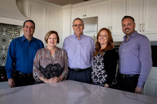 From left: Brandon Smith (son), Mary Smith (mom), Don Smith (dad), Andrea Willey (daughter) and Jeremy Smith (son), Jan. 27, 2020, in the showroom at Central Arizona Supply, 4750 N. 16th St., Phoenix.