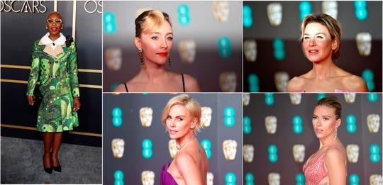Combo de fotografías de archivo que muestra a las actrices: Cynthia Erivo (i), Saoirse Ronan (c, arriba), Charlize Theron (c, abajo); Renée Zellweger (d, arriba), y Scarlett Johansson (d, abajo).