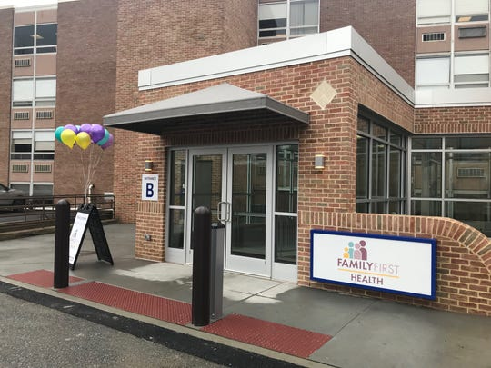 The entrance to the WellSpan Dixon Foundation Health Center at 4th and Willow streets in Lebanon.