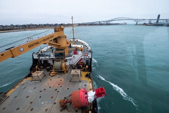 The USCGC Hollyhock sails out of Port Huron from Lake Huron after performing engine tests Tuesday, Feb. 4, 2020.