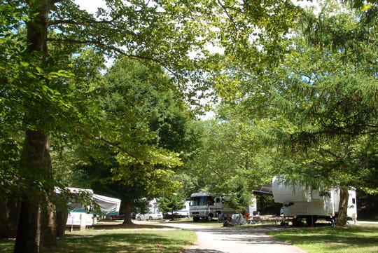 The campground at Wildwood State Park, which offers RV camping. Wildwood is a New York State Park.
