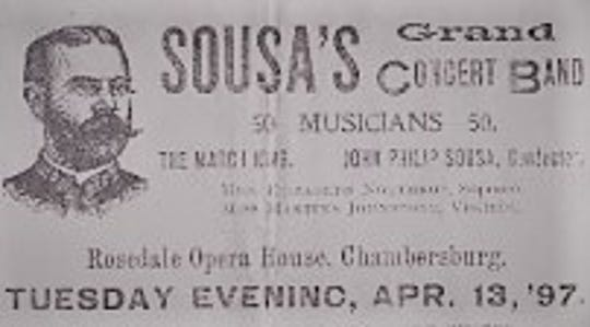 This is a ticket for Sousa's Grand Concert Band held at the Rosedale Opera House on April 13th, 1897.