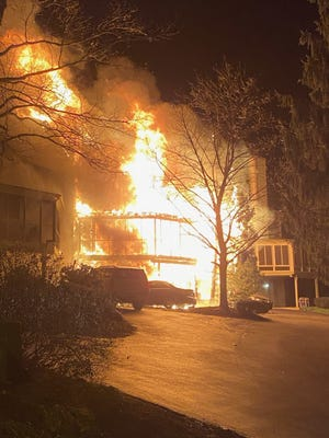 A photo of the home of congressional candidate Tom Brier. At roughly 4 a.m. Monday, Jan. 3, the home completely burnt down. Two other town houses also received extensive damages.