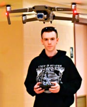Hanover High School junior Owen Myers flies a Mavic 2 drone during Drone Construction, Flying & FAA Certification class at Hanover High School, Tuesday, Feb. 4, 2020. Myers is one of eight students taking the new 90-day course being offered at the school. By the end of the class, students will test to achieve their FAA certification. Dawn J. Sagert photo