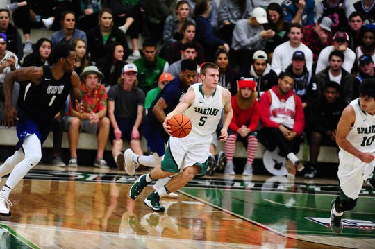 York College's Jared Wagner dribbles during a Dec. 3 home game against Mary Washington. Wagner has been the primary backup point guard this season.