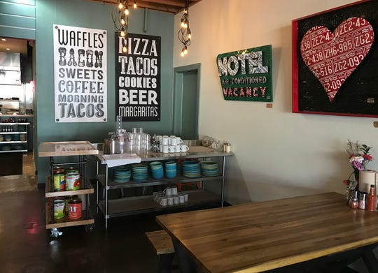 The menu at the new Food & Drink in Midtown Reno is anchored by pizza, tacos and Liège waffles.
