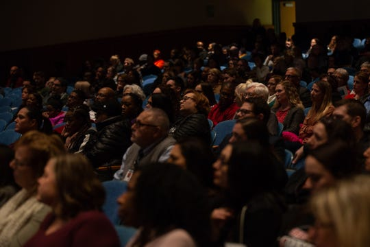 More than 200 people packed the auditorium at Greece Olympia High School to hear Sean Eversley Bradwell, an assistant professor at Ithaca College, lead a discussion on the origins and usage of the N-word on Monday, Feb. 3, 2020.