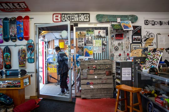 A customer leaves Fall Line Sports in Silverton on January 30, 2020.