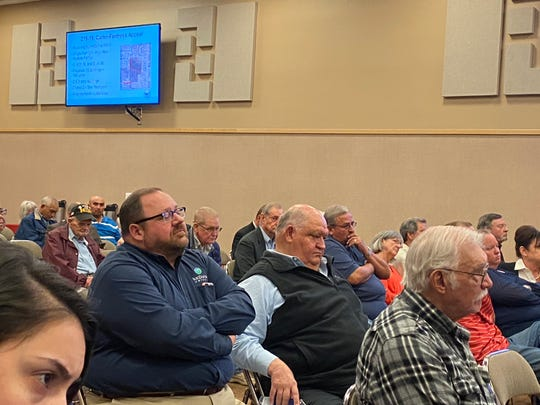 A crowded audience listens to public comments concerning a proposed apartment complex in the Lake View area during a San Angelo city council meeting. Feb. 4, 2020.