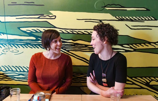 Sarah Bruxvoort and Beth Crawford of the Sioux Falls Yoga Collaborative talk about their upcoming Self Love Yoga Retreat on Tuesday, Feb. 4, at Bread and Circus, where they often meet to plan events.