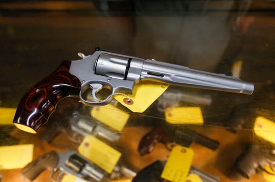 A Smith and Wesson model 629 .44 Magnum revolver at Cherokee Firearms on Monday.