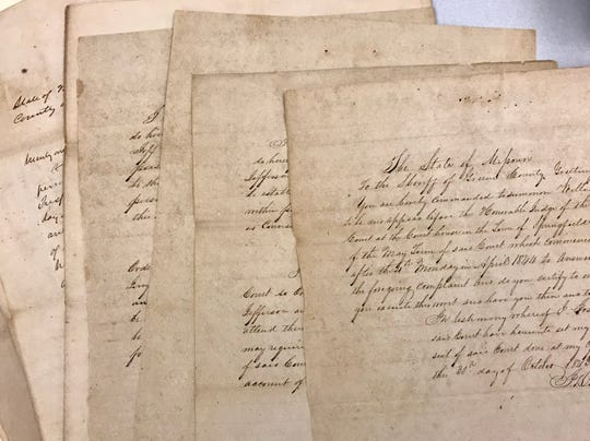 These are the actual documents from an 1843 freedom suit filed in Greene County.