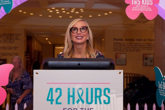 Sen. Lauren Book is the first to take a 15-minute shift on the treadmill for her foundation Lauren's Kids' 42 Hours for the 42 Million advocacy walk Tuesday, Feb. 4, 2020.