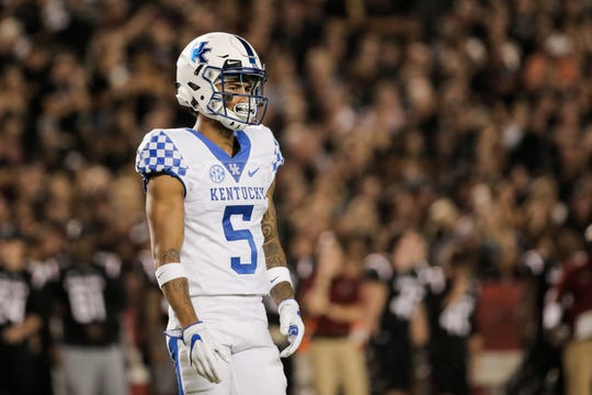 Kentucky Wildcats defensive back Kendall Randolph during a 2017 game against South Carolina in Columbia, S.C.