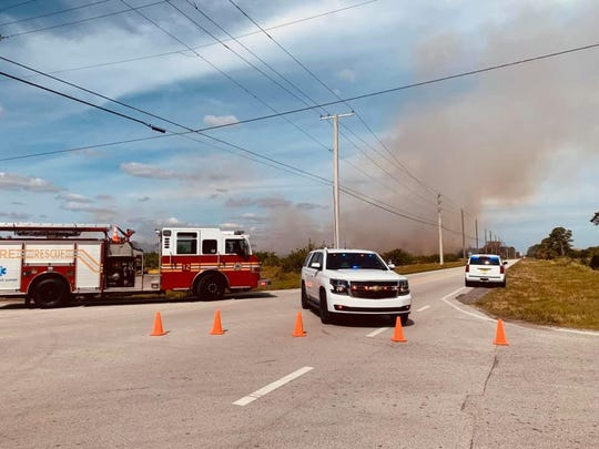 A brush fire has closed 66th Avenue between 69th and 77th streets in Indian River County Feb. 4, 2020.