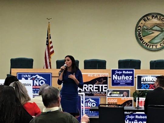 Democrat U.S. Senate candidate Cristina Tzintzún Ramirez speaks at the El Paso Eastside Democrats candidates forum at the El Paso Community College administration building on Monday, Feb. 3, 2020.