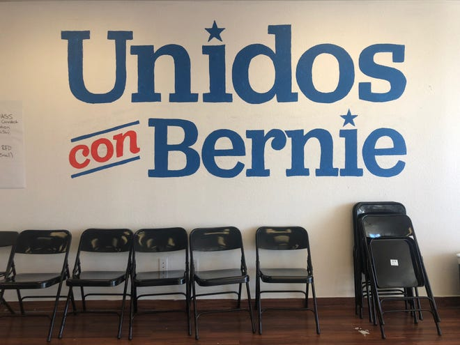 A mural decorates the wall of Bernie Sanders' Oxnard campaign office. The office opened on Jan. 10, and is currently the only presidential campaign office in Ventura County.