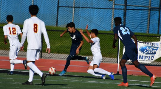 Sophomore Ernesto Rodriguez (16) has given first-place Camarillo a dangerous attack to go with its sturdy defense in Coastal Canyon League play.