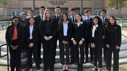 The winning Calabasas team is made up of Richard Dragomirescu-Antonescu, Bella Echols, Nura Esmailizadeh, Benjamin Ford, Emma Hakkakzadeh, Salman Jaberi, Zainab Jamali and Kyle Lev. They are coached by Tyler Lee.