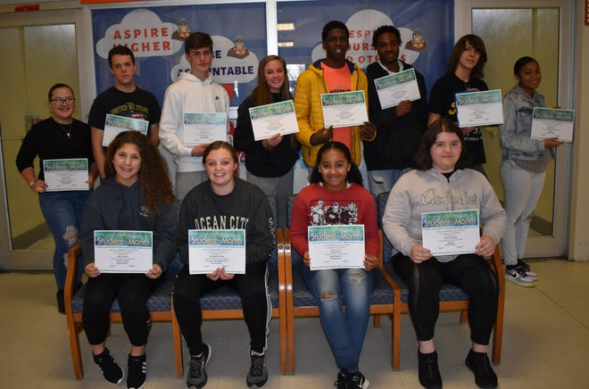 Millville Memorial High School's Students of the Month for December are: (back row, from left) Jocelyn Vega, Christopher Smith, Ashton Steffler, Courtney Ayars, Calem Bowman, Daezhaun Jones-Jenkins, Ewan Wickward, Arnasia Hall; and (from row, from left) Emily Abdill, Katherine Clark, Yazmine Bates and Olivia Diemand.