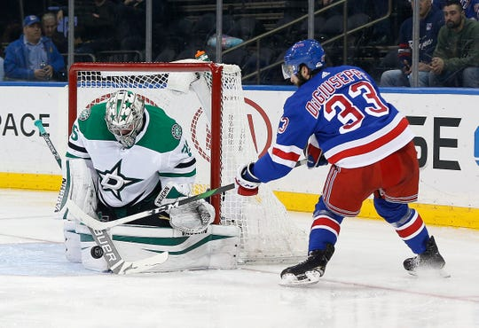 Feb 3, 2020; New York, New York, USA; Dallas Stars goaltender Anton Khudobin (35) makes save on a close in shot by New York Rangers left wing Phillip Di Giuseppe (33)during the second period at Madison Square Garden. Mandatory Credit: Andy Marlin-USA TODAY Sports