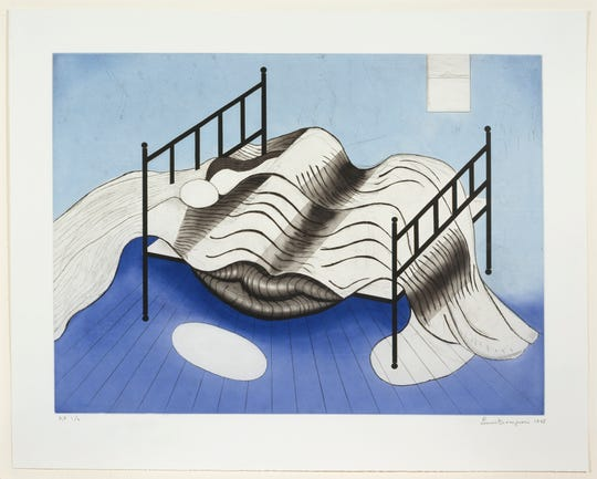 """Louise Bourgeois,"""" Blue Bed,"""" 1998. Collection of Jordan D. Schnitzer, 2005.218 © The Easton Foundation/Licensed by VAGA at Artists Rights Society (ARS), NY. The work is part of an exhibition at the Francis Lehman Loeb Art Center at Vassar College."""