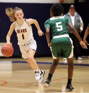 Madyson Day (5) of Woodlands guards Briarcliff 's Caroline Barbalato (1) during girls basketball game at Briarcliff High School Feb. 3, 2020. Briarcliff defeats Woodlands 63-38.