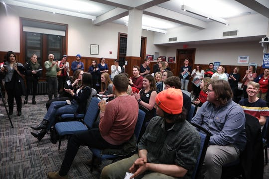 Participants make their choice for the 2020 Democratic presidential candidate at one of the first Iowa satellite caucus event  at University of Pennsylvania's Houston Hall on Monday.