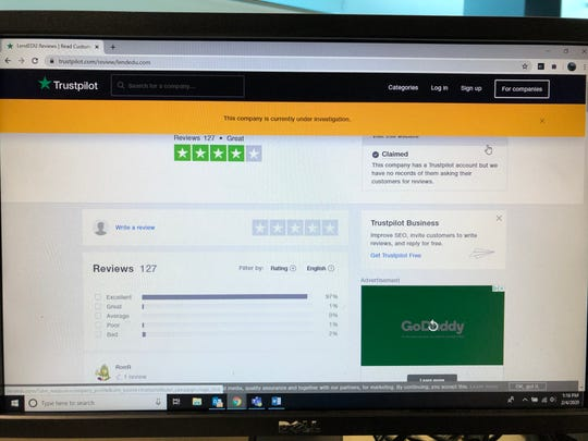 Trustpilot.com, an open review platform, has placed LendEDU under investigation. An FTC complaint said 90% of the company's reviews were written by employees or their friends, family and associates.