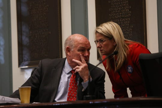 House Speaker Pete Schwartzkopf, D-Rehoboth Beach, (left) and House Majority Leader Valerie Longhurst, D-Bear, talk in Dover's Legislative Hall during the 2020 session.