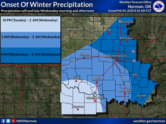 Precipitation will end late Wednesday morning and afternoon.