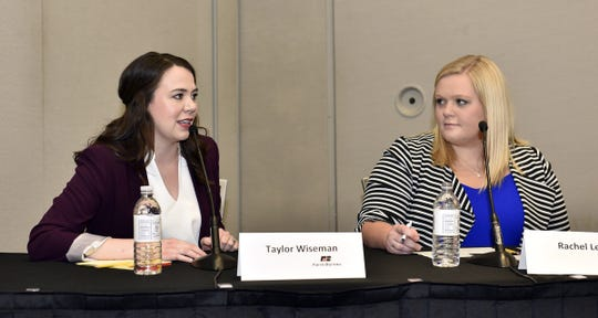 Rachel Leege (right) participated in two rounds of discussion with other young farmers and ranchers from across the country talking about topics like cell- and plant-based meat alternatives and solutions to agricultural labor at the American Farm Bureau convention.