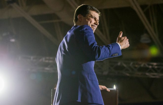 Former South Bend Mayor and democratic presidential hopeful Pete Buttigieg speaks to supporters at his Iowa Caucus Watch Party event inside Drake University on Monday, Feb. 4, 2020, in Des Moines, Iowa.