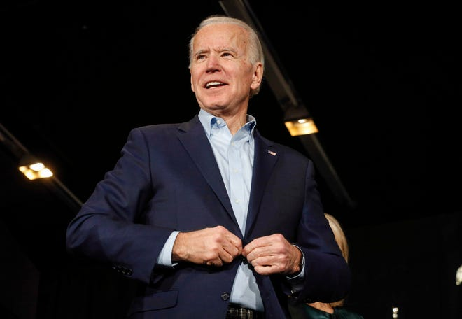 Vice President and current Democratic presidential candidate hopeful Joe Biden speaks to supporters following the Iowa Caucus at the Olmstead Building at Drake University in Des Moines on Monday, Feb. 3, 2020.