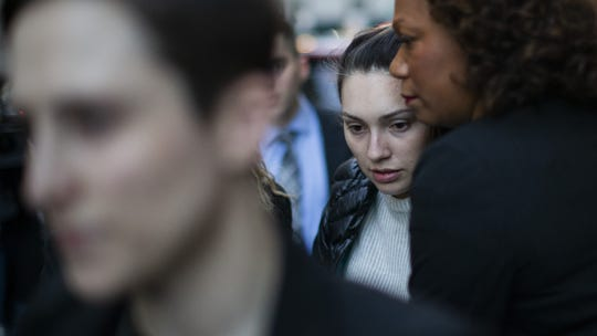 Jessica Mann (C) exits the courthouse after testifying against Harvey Weinstein at his sex-crimes trial on Feb. 3, 2020 in New York City.