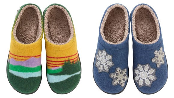 These fun slippers are on sale.